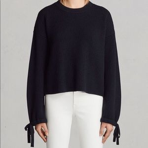 All Saints Sura crewneck wool sweater tie sleeves